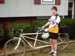 Mary Hiland with her tandem bike