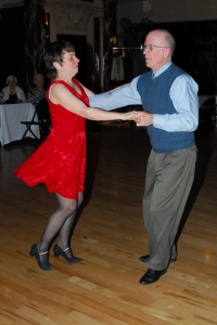 Mary Hiland dancing with instructor Mark Miller
