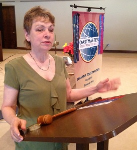 Mary presenting at Toastmasters