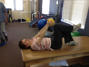 Mary at physical therapy
