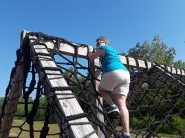 Mary at top of Cargo Climb